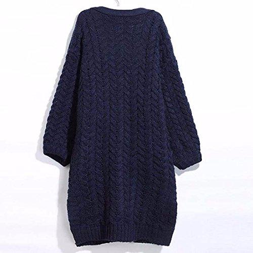 Femmes Cardigan Manteau Long Ouvert Casual Automne Chandail De Bleu Avant Qiyun Tricot z Hiver v5zSqWYp4