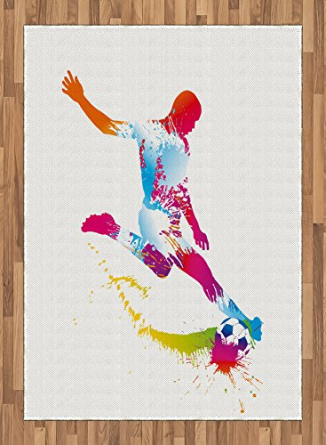Boy's Room Area Rug by Lunarable, Silhouette of Abstract Soccer Young Sportsman Kicks the Ball Goal Win Match, Flat Woven Accent Rug for Living Room Bedroom Dining Room, 5.2 x 7.5 FT, Multicolor by Lunarable
