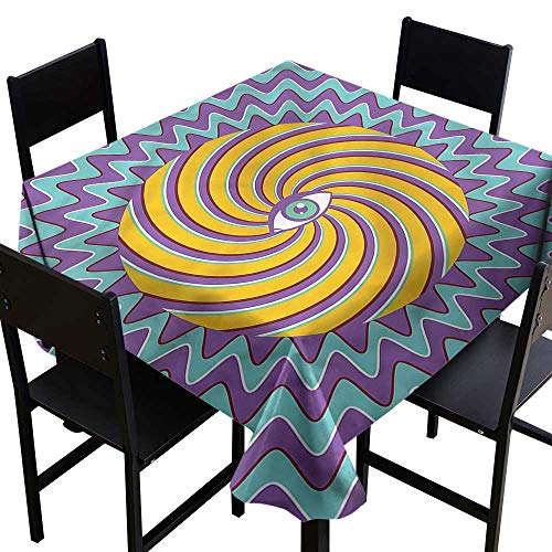 Vintage Tablecloth for Kids/Childrens Color Hypnotic Circles Party Decorations Table Cover Cloth 70 x 70 Inch