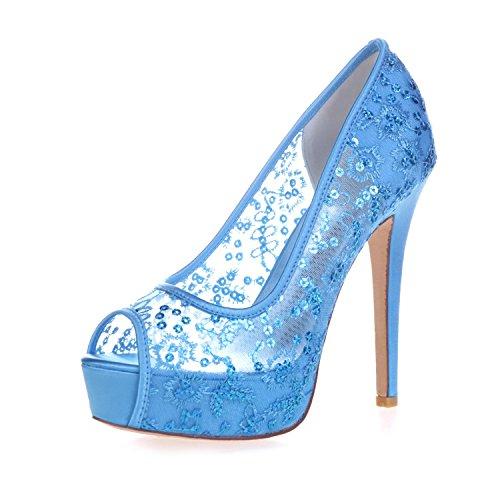 L@YC 3128-33 Plataforma De TacóN alto Para Mujer Peep Toes Pump Lace Ribbon Court Shoes Blue