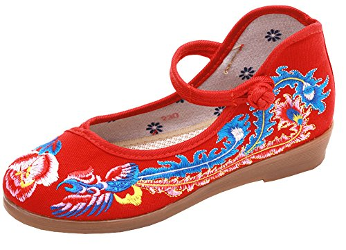AvaCostume Womens Chinese Traditional Phoenix Embroidery Buckle Flat Shoes Red dXAoxFybWq