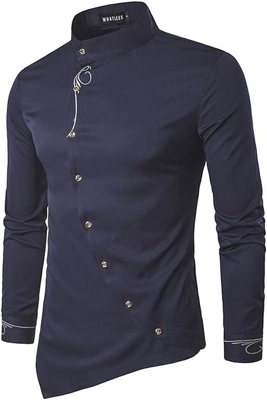 W&TT Camisa De Manga Larga Hombre, Color Sólido Jacquard Diagonal ...