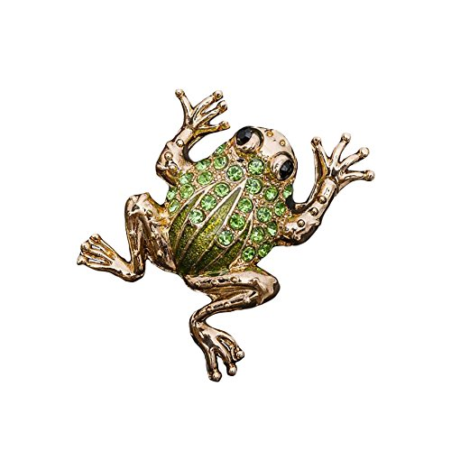 Diamond Frog Pin (Fashion Women Jewelry Frog Toad Metal Rhinestone Crystal Green Gold Brooch Pin (Frog Green))