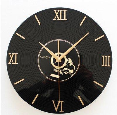 Y-Hui 3D Estéreo CD Vinilo Reloj de Pared Reloj,12 Pulgadas,Negro y Negro Clásicos: Amazon.es: Hogar
