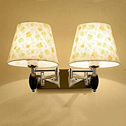 Modern Swing-Arm Wall Lamp E27 Cloth Lamp-Shade 2 Head Wall Sconce