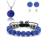 AdamEva Factory - Crystal Shamballa Disco Balls Sets Jewelry Set [Necklaces Pendants / Bracelet / Earring Studs] (Blue)
