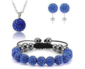 AdamEva Factory - Crystal Shamballa Disco Balls Sets Jewelry Set [Necklaces Pendants / Bracelet / Earring Studs] (Blue)