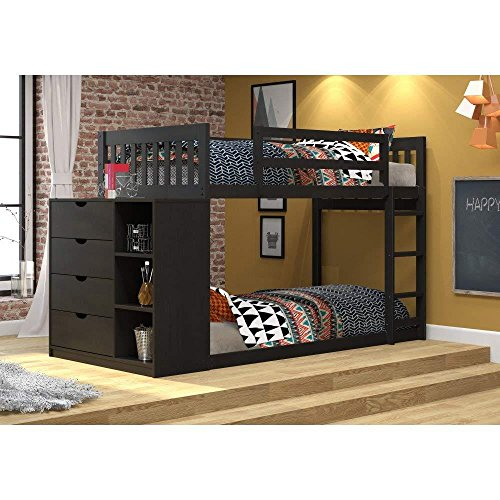Donco Kids Mission Chest Bunk Bed, Twin/Twin, Black Brown