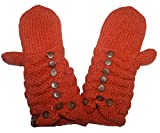 1414 MT Women's Hand Knit Wool Fleece Kumari Mitten [Rust/Orange]