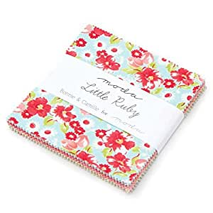"Little Ruby Charm Pack by Bonnie & Camille; 42 - 5"" Precut Fabric Quilt Squares"