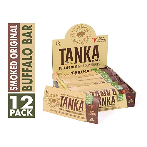 Buffalo Smoked Jerky - Bison Pemmican Meat Bars with Buffalo & Cranberries by Tanka, Gluten Free, Beef Jerky Alternative, Slow Smoked Original, 1 Oz, Pack of 12