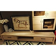 Solid wooden Wood Media TV Stand Unit Cabinet Console for Flat Screens with 2 drawers,Elm,Modern Style,Natural Color
