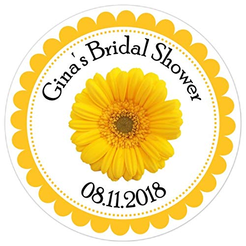 Gerber Daisy Personalized - Wedding Stickers, Yellow Gerber Daisy Stickers, Bridal Shower Labels, Reception Favors (36 Count, 2.5 inch round)