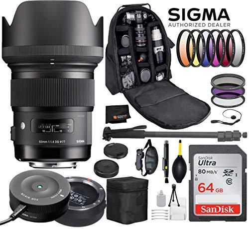 Sigma 50mm F1.4 Art DG HSM Lens for Nikon DSLR Cameras + Sigma USB Dock with Professional Bundle Package Deal – 9 pc Filter Kit + SanDisk 64gb SD Card + Backpack + More