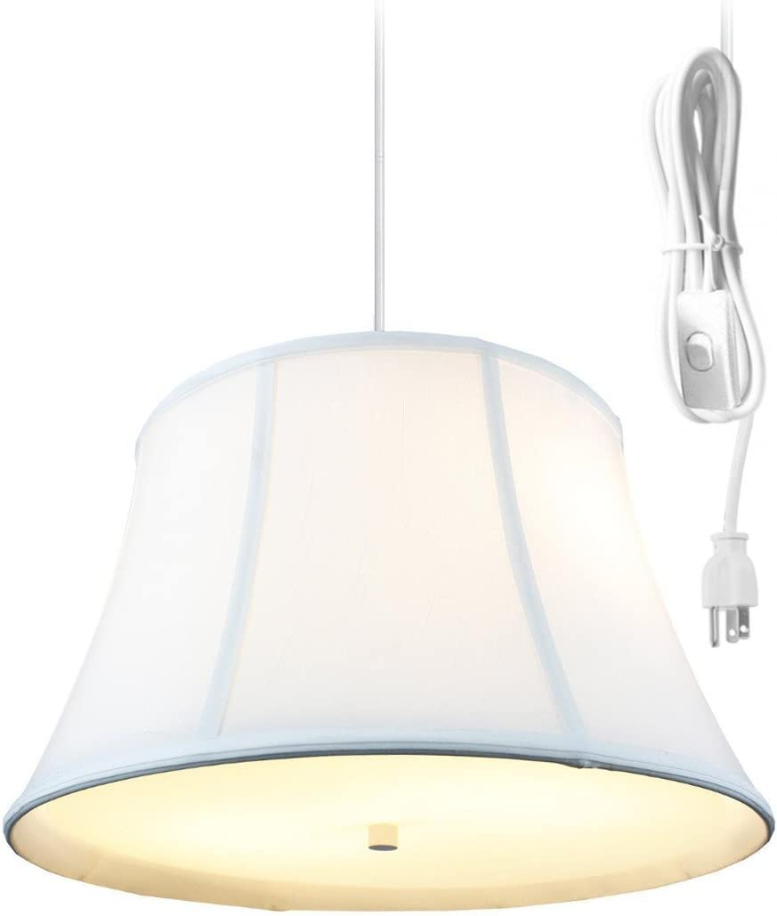 2 Light Plug in Pendant Light by Home Concept – Hanging Swag Lamp Egg Shell with Diffuser – Perfect for Apartments, dorms, no New Wiring Needed Egg Shell, White Two-Light