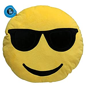 Dolphineshow 35cm Emoji Smiley Emoticon Cool Sunglasses Yellow Round Cushion Pillow Stuffed Plush Soft Toy (Sunglasses Face)