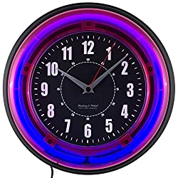 Wall Clock Blue Neon 11 Glass Lens Plastic Frame Battery Operated Retro Style Teens Bedroom Decor