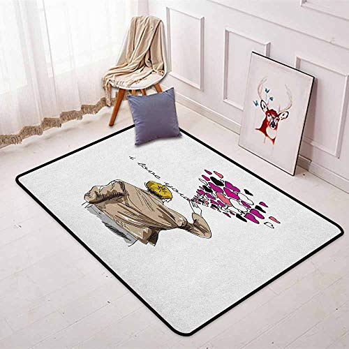 I Love You Regional Round Carpet Romantic Comic Male Character Writing Declaration of Love with Heart Shapes Non-Slip Easy to Clean W47.2 x L63 Inch Multicolor