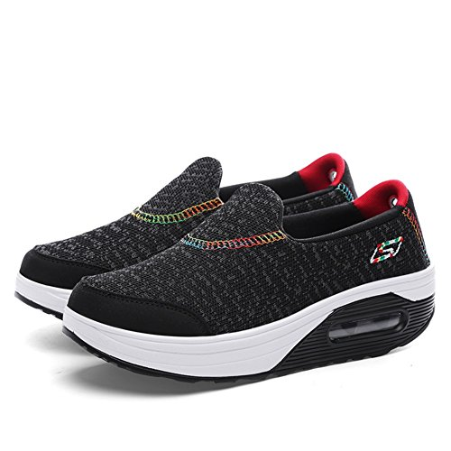 ocasionales Zapatos Aumento Morado de On Spring Cushion Casual mujer Negro libre Gris Segundo SHINIK Air Al transpirables altura de aire Zapatos Zapatos Fitness Zapatillas Shake Slip Fall ZwnOvAxqv