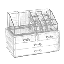 2 Layers Makeup Organizer Four Clear Plastic Drawers Cosmetic Jewelry Lipstick Holder Stand Make up Brush Eyeshadow Nail Varnish Polish Display Storage Case Boxes Container