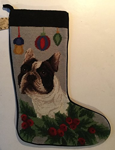 Boston Terrier Dog Large Needlepoint Christmas Stocking 16 inch