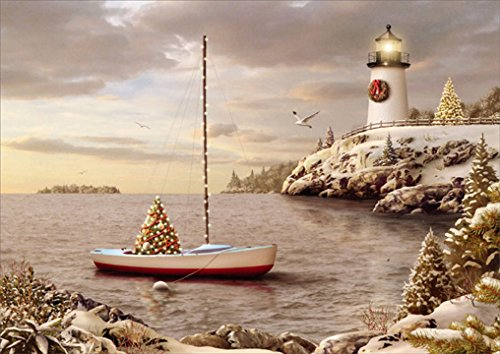 18 Christmas Cards and Envelopes, Decorated Harbor with (Lighthouse Christmas Cards)