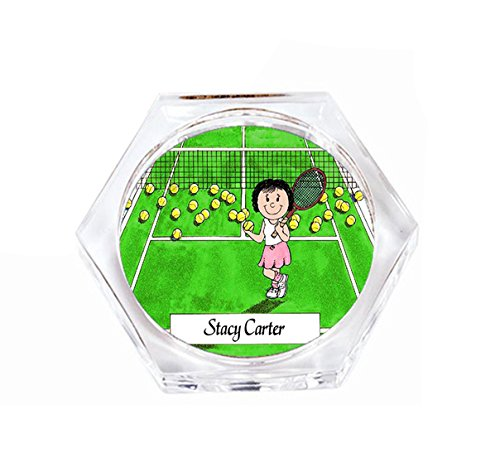 Tennis Coaster - Personalized Friendly Folks Drink Coaster Gift: Tennis Player - Female Great for tennis players, tournament, championship, award, trophy