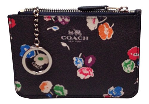 Coach WildFlower Key Pouch with Gusset Coin key chain F65444