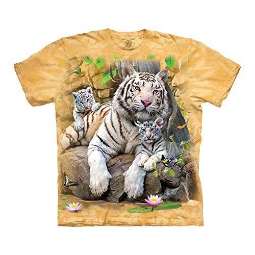 The Mountain White Tigers Of Bengal Adult T-Shirt, Yellow, - T-shirt Mountain