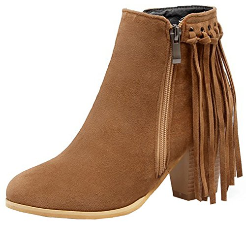 Easemax Women's Stylish Fringe Zip Up Chunky Mid Heeled Round Toe Faux Suede Short Ankle High Boots Yellow SlKMNe01hp