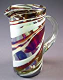 Hand Blown Glass Margarita or Juice Pitcher, Red White Swirl Design Straight 8 Cups