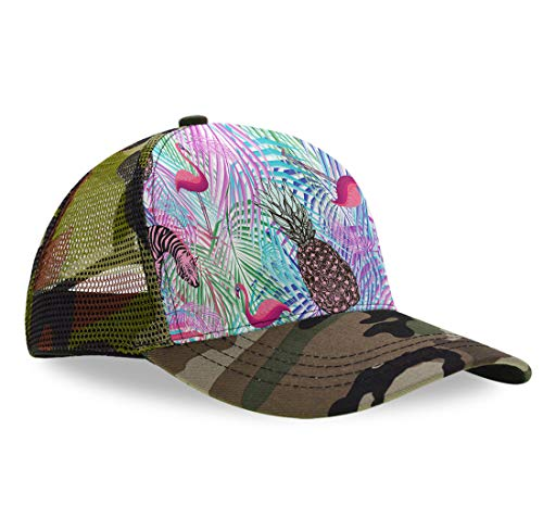 Colorful Palm Leaf Pineapple Zebra Flamingo Mesh Adjustable Snapback Dad-Hat Camouflage Baseball Cap Golf Hats Adjustable Plain Cap Classic Sun Outdoor Sports Hat for Boys - Palm Pink Pre Zebra