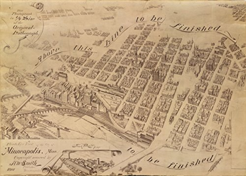 Map: 1891 Birds eye view of the city of Minneapolis, Minn. This photograph is 1/4 size of the original lithograph|Minneapolis|Minneapolis - Georgia Best Locator Store Buy