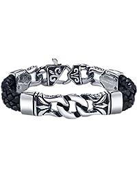 Coolman Black Stainless Steel Braided Leather Bracelet...