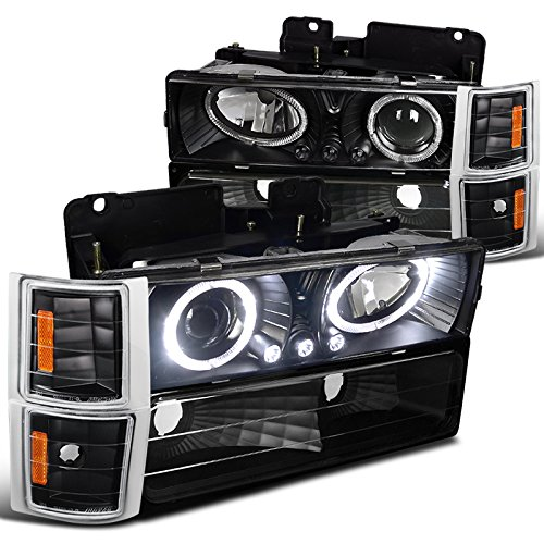 amazon com chevy c10 ck tahoe silverado halo led black projector amazon com chevy c10 ck tahoe silverado halo led black projector headlights corner bumper automotive
