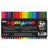 Super Markers 20 Color Premium Fabric & T-Shirt Marker Set with Our Unique