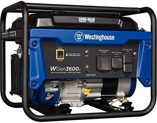 Westinghouse WGen3600v Portable Generator – 3600 Rated Watts 4650 Peak Watts – Gas Powered – CARB Compliant