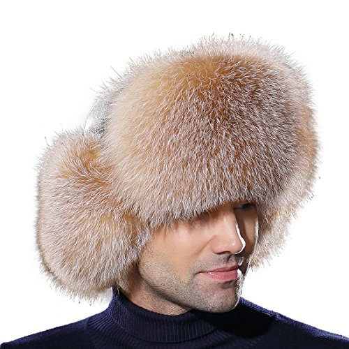 URSFUR Winter Mens Trapper Hat Real Leather and Fox Fur Russian Ushanka Cap by URSFUR