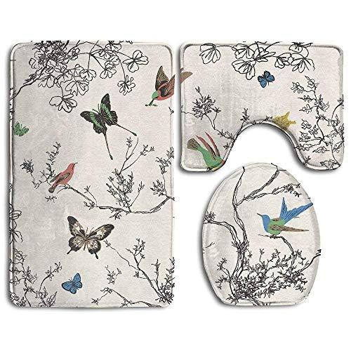 (Butterfly and Birds Bath Mat Bathroom Carpet Rug Washable Non-Slip 3 Piece Bathroom Mat)