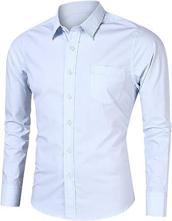 Gdtime Camisa de Manga Larga para Hombre, 100% Algodón, Estilo Informal,Color Sólido Clásico, Business Vestir De Negocios