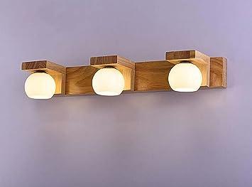 Led applique moderne minimaliste abat jour en verre solide bois