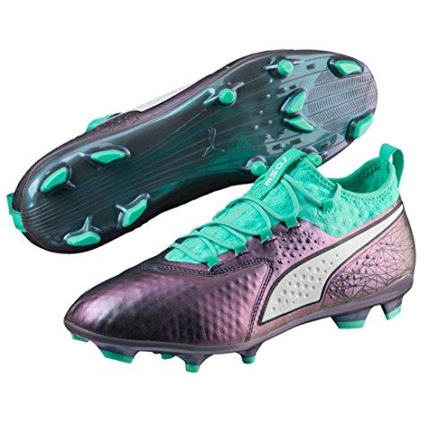 Picture of PUMA Men's ONE 2 IL LTH FG Soccer Shoe, Color Shift-Biscay Green White Black, 10.5 M US
