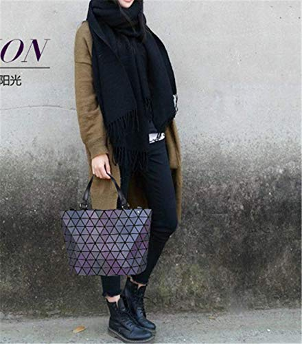 Lingge Tote Hologram Blue Purse Handbag BeautyWJY Laser Shoulder PU Women Geometric Leather pYx6UU