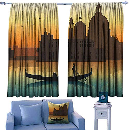 - Mannwarehouse Romantic Simple Curtain People in Gondolas Venice City of Historical Importance Abstract Illustration for Living, Dining, Bedroom (Pair) 55
