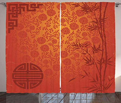 Ambesonne Asian Curtains, Eastern Ethnic Scenery with Branches Traditional Chinese Symbols Print, Living Room Bedroom Window Drapes 2 Panel Set, 108 W X 84 L Inches, Orange Ruby