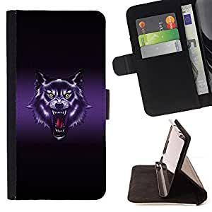 DEVIL CASE - FOR LG G3 - Wolf Roar Art Drawing Portrait Purple Glow - Style PU Leather Case Wallet Flip Stand Flap Closure Cover