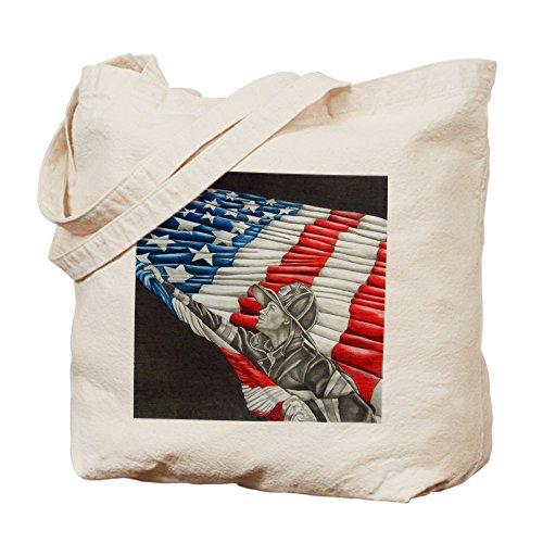 Cafepress–pompiere con bandiera americana–Borsa di tela naturale, tessuto in iuta