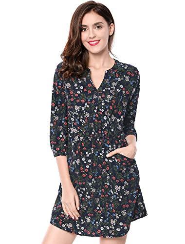 - Allegra K Women's Floral Print Button Down V Neck 3/4 Sleeves Side Pockets Vintage Dress Dark Blue XS (US 2)
