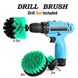 Drill Brush Attachment Kits, 3 Pieces Cleaner Power Scrubber Brush Heads for Cordless/Corded Drills, All Purpose Bathroom Surface, Grout, Tub, Shower, Kitchen Drill Is Not Included (Medium-Green)