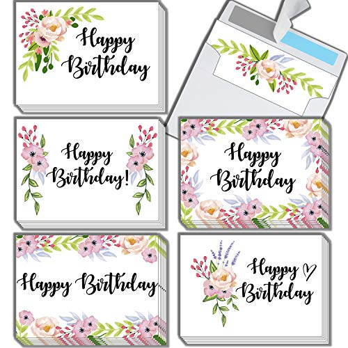 (Premium Floral Happy Birthday Cards 36-Pack | Beautiful Cardstock B-Day Notes With Self-Sealing Envelopes | Pre-Folded 4.5